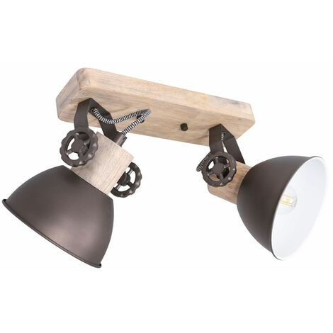 Lámpara de techo RETRO para sala de estar, luz giratoria de madera, focos de estilo industrial Steinhauer 7969A