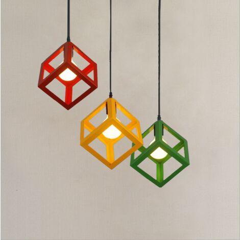 Lámpara de Techo Retro Vintage con Forma de Cubo de Luz Colgante Colorida Moderna (7 Colores A Elegir)