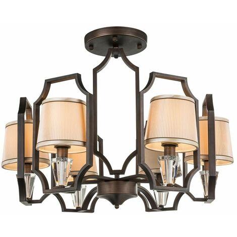"""main image of """"Lámpara de techo rústica de estilo rústico, sala de estar, iluminación de cristal textil, lámpara de araña, bronce  Globo 69005-6"""""""