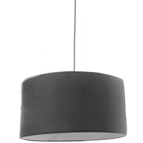 Lámpara de Techo Salón/Dormitorio, Gris en Algodón y pvc. Diseño Colgante/Moderno. Decoración de Interior Pequeño