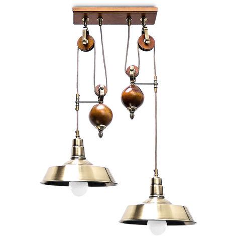 - Lámpara de techo, Sistema de poleas, Longitud: 50 cm - 120 cm, Zócalo: 2 x E27