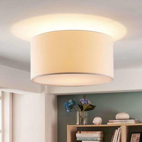 Lámpara de techo textil Parsa con pantalla blanca