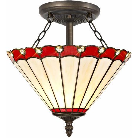 Lámpara de techo Tiffany Calais 2 bombillas rojas 40 Cm