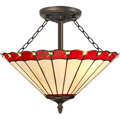 Lámpara de techo Tiffany Calais 3 bombillas roja 22 Cm