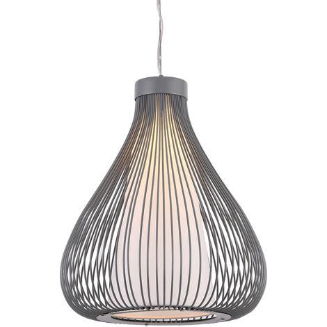 Lámpara de techo tipo colgante con pantalla decorativa metálica - colgante moderna - gris (E27)