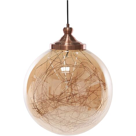 Lámpara de techo vidrio/cobre BENI L