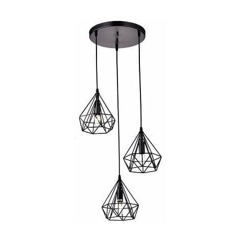 Lámpara de techo Vintage 3L Cage Negro | IluminaShop