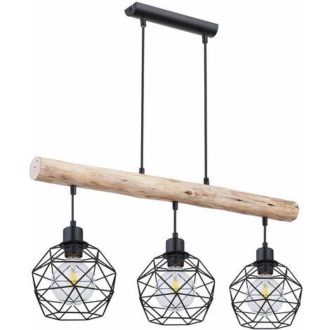 Lámpara de techo vintage con control remoto regulable, barras de madera, lámpara colgante de rejilla, negro en un juego que incluye bombillas LED RGB