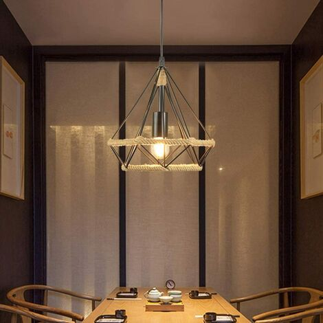 Lámpara de Techo Vintage Idustial Diamante Cuerda de cáñamo Pirámide Cage Pájaro Jaula Luz Colgante de Hierro Restaurante Bar Pasillo(Negro)