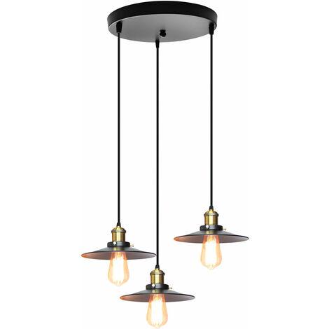Lámpara de Techo Vintage Lámpara Colgante Retro Antigua Ø22CM Colgante de Luz Industrial Luz Colgante de 3 Luces Negro Lámpara de Hierro de Metal Pantalla