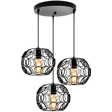 Lámpara de Techo Vintage Lámpara de Araña de Circular Lámpara Colgante de Jaula de Hierro de Metal 3 Luces para Club Bar Cafe Negro 25cm