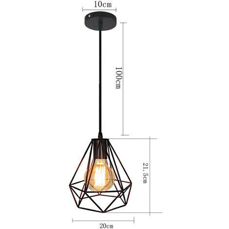 Lámpara de Techo Vintage Lámpara de Techo Retro Lámpara Colgante Industrial Negro Pantalla de Lámpara de Hierro de Metal Luz Colgante de 20CM Diamante