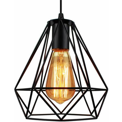 Lámpara de Techo Vintage Lámpara de Techo Retro Negro Lámpara Colgante Industrial Luz Colgante de 20CM Diamante Pantalla de Lámpara de Hierro de Metal (3PCS)