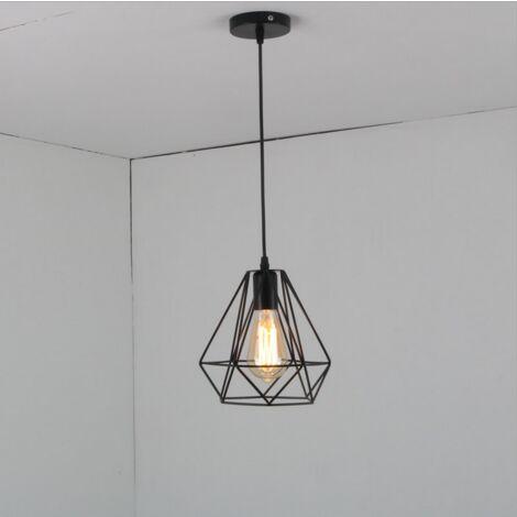 Lámpara de Techo Vintage Lámpara de Techo Retro Negro Lámpara Colgante Industrial Luz Colgante de 20CM Diamante Pantalla de Lámpara de Hierro de Metal