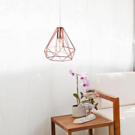 Lámpara de Techo Vintage Lámpara de Techo Retro Oro Rosa Pantalla de Lámpara de Hierro de Metal Lámpara Colgante Industrial Luz Colgante de Diamante 20CM
