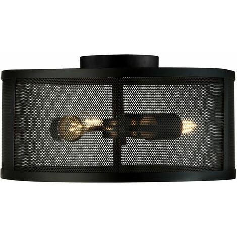 Lámpara de techo vintage Salón comedor Jaula Diseño Luminaria Reflector negro 2843 -3BK