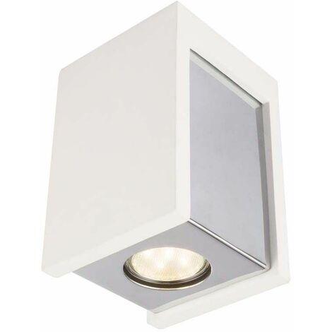 Lámpara de techo yeso blanco cromado cuadrado living dormitorio comedor