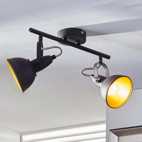 Lámpara de techoJulin con 2focos, negro-dorado