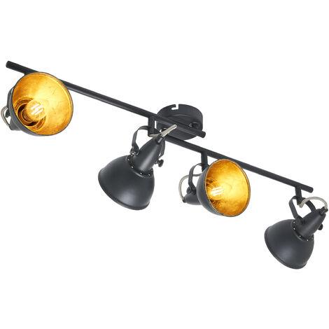 Lámpara de techoJulin con 4focos negro-dorado