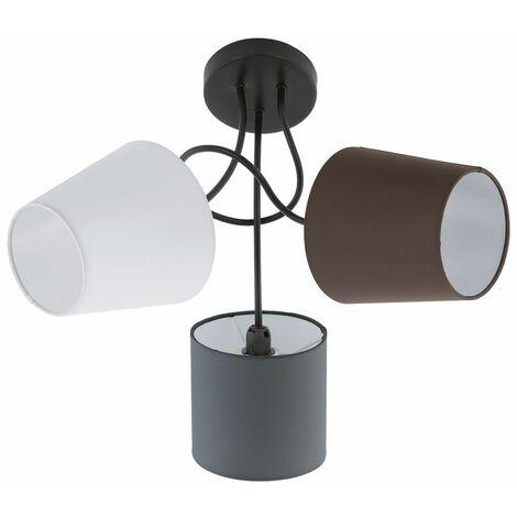lámpara del dormitorio de la lámpara del techo de lujo pone de relieve antracita textil marrón de 3 hojas Eglo 95192