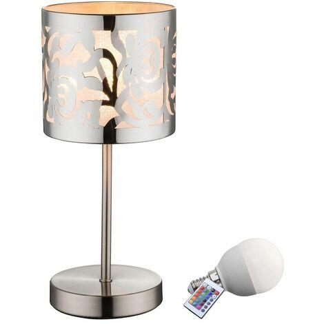 lámpara del dormitorio Lámpara de cabecera acero inoxidable punzón decorativo en un conjunto incluyendo RGB LED