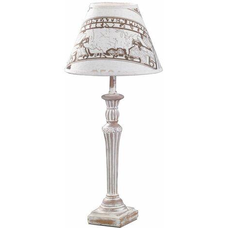 Lámpara dormitorio invitados iluminación habitaciones antigua impresión textil Honsel Leuchten 54351