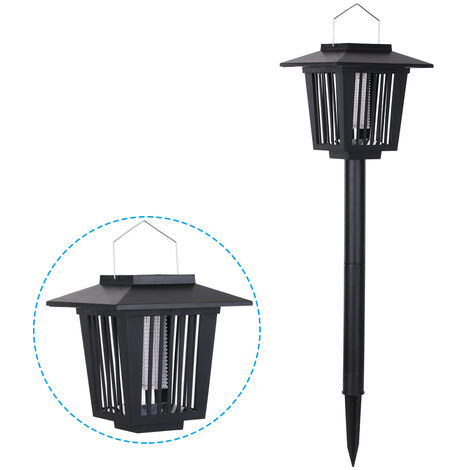 Lampara electrica con luz LED de energia solar, negra, con gancho
