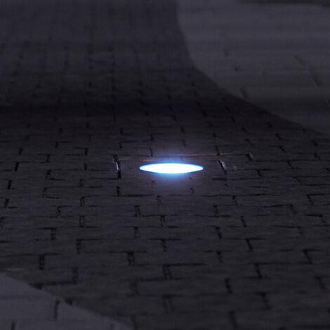 Lámpara empotrable de suelo LED robusta para exteriores, lámpara de vidrio de acero inoxidable en un juego que incluye lámparas LED