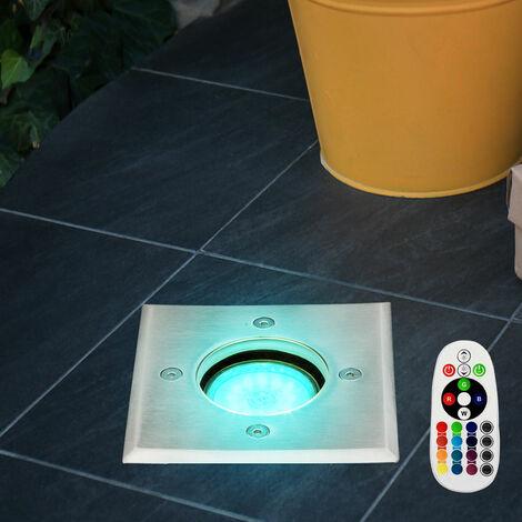 Lámpara empotrada en el suelo, control remoto, jardín, foco, punto de entrada, lámpara de punto, juego regulable, incluida bombilla LED RGB