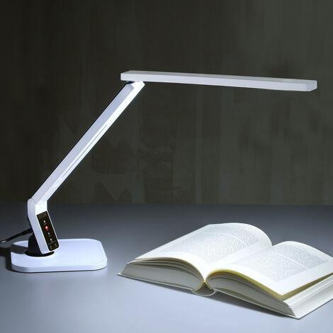 Lámpara escritorio LED muy moderna Eleni, blanca