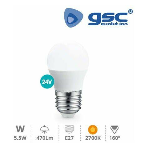 Lampara esferica LED 5W E27 3000K 24V