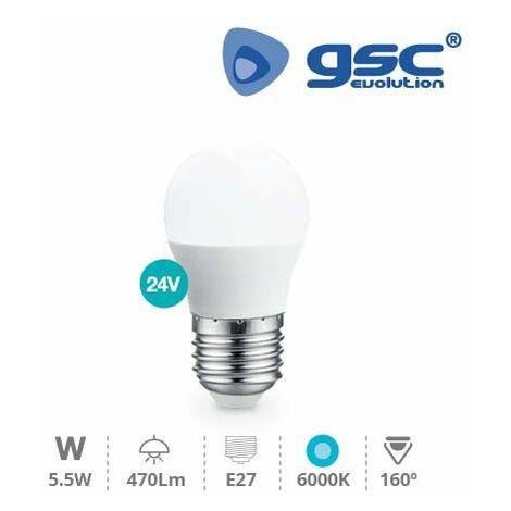 Lampara esferica LED 5W E27 6000K 24V