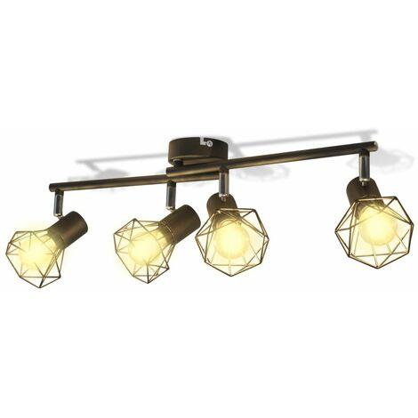 Lampara estilo industrial estructura de alambre con 4 focos LED negra