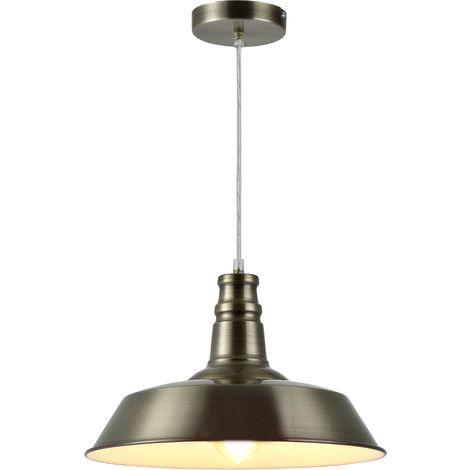 Lámpara estilo vintage colgante - E27 - bronce / blanco - Lámpara de techo retro