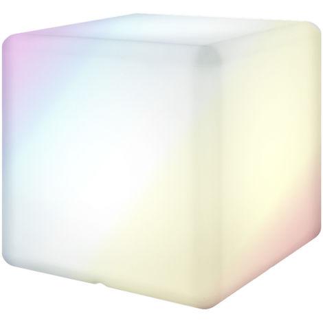 Lámpara exterior con mando de luz LED blanca de 40x40x40 cm