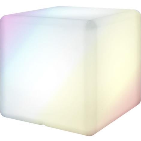 Lámpara exterior con mando de luz LED blanca de 45x45x45 cm