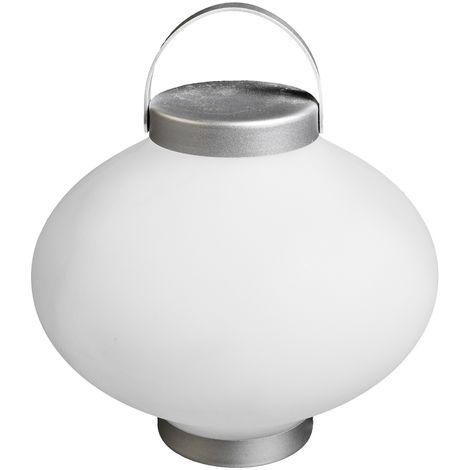 Lámpara exterior de mesa led blanca de 24x27x27 cm