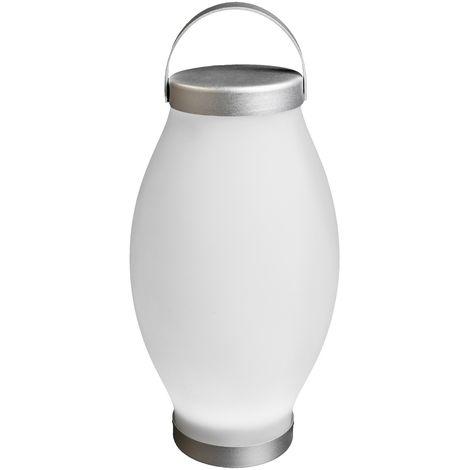 Lámpara exterior de mesa led blanca de 31x18x18 cm