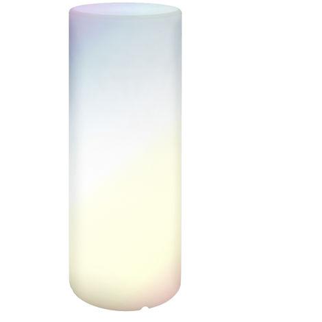 Lámpara exterior de pie cilíndrica con mando de luz led blanca de 75x30x30 cm