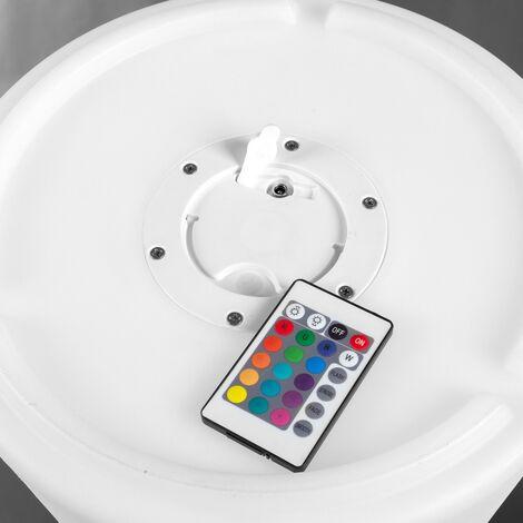 Lámpara exterior de pie con mando de 24 funciones de led blanca de Ø 44x180 cm