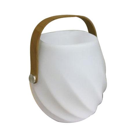 Lámpara exterior de sobremesa recargable con USB de led blanca de Ø 18x26 cm