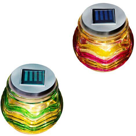 Lámpara exterior solar de cristal multicolor de Ø 12x10 cm.Compra mínima 2 unidades
