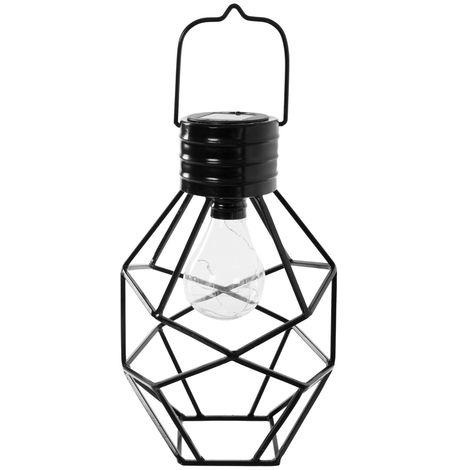 Lámpara exterior solar de metal industrial negra de 30x17x20 cm