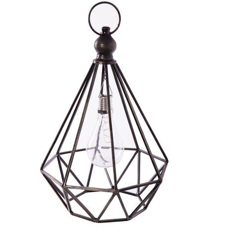 Lámpara exterior solar de metal industrial negra de 36x21x21 cm
