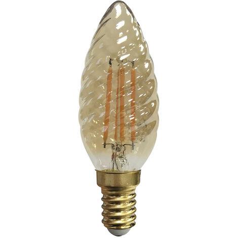 Lámpara filamento Led vela rizada caramelo 4W E14 2200°K (F-BRIGHT 2601986)