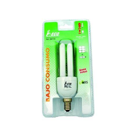 Lámpara fluorescente 2 tubos económica E27 9W 2700°K 410Lm 40x132mm. (F-BRIGHT 26001151) (Blíster)