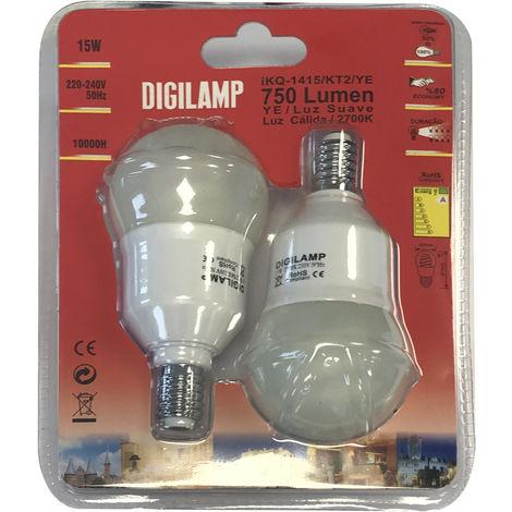 Lámpara fluorescente compacta esférica E14 11W 2700°K 395Lm 46x101mm. (F-BRIGHT 2600750) (Blíster 2 uds)