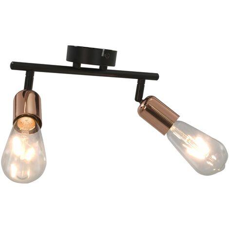 Lámpara focos 2 bombillas de filamento 2W negro y cobre E27