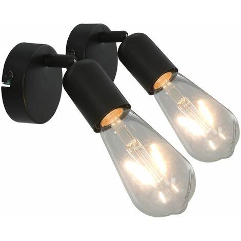 Lámpara focos 2 uds con bombillas de filamento 2W negro E27 - Negro