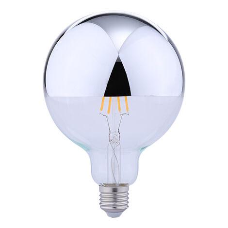 Lámpara globo reflectora cristal Led cúpula plata G95 E27 5,5W 2700°K (Duralamp LFG95S)